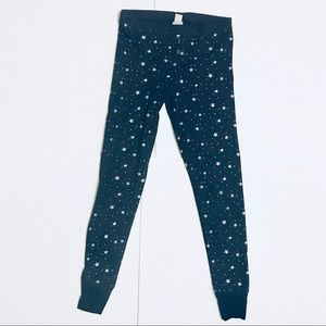 Old Navy Black Silver Stars Waffle-Knit Leggings